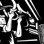 Car mechanic repairing auto vehicle — Stock Photo
