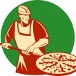 Stock Photo: Pizza pie maker baker baking pan