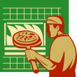 Pizza pie maker baker baking pan oven — Stock Photo