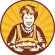 Grandma granny baker cook loaf bread — Stock Photo
