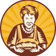 Grandma granny baker cook loaf bread - Stock Photo