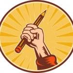 Hand holding pencil with sunburst — Stock Photo