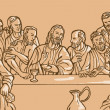 Last supper Jesus Christ disciples - Stock Photo