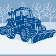 Snow plow tractor plowing winter scene — Stock Photo