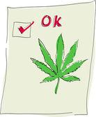 大麻葉のティック マークを — ストック写真