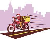 Kurye teslim kişi ridie motosiklet — Stok fotoğraf