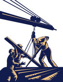 Construction workers hoist timber boom — Stock Photo