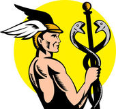 Hermes mercury holding caduceus — Stock Photo