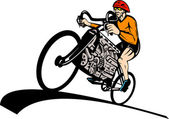 Cyclist racing bicycle v8 car engine — Stock Photo