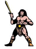 Krigare med stora svärd — Stockfoto
