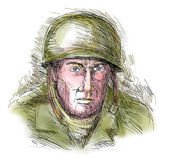 Portrait gritty World war two soldier — Stock Photo