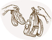 Hands Barter trading swapping shoes bag — Stock Photo
