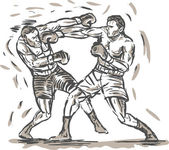 Drawing of two boxers punching — Stock Photo