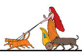 Freya Norse goddess chariot cat boar — Stock Photo