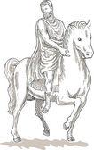 Roman emperor soldier riding horse — Stock Photo