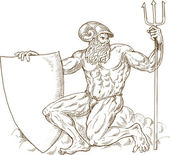 Roman God Neptune poseidon trident — Stock Photo