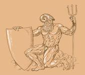 Roman God Neptune poseidon trident — Stock Photo