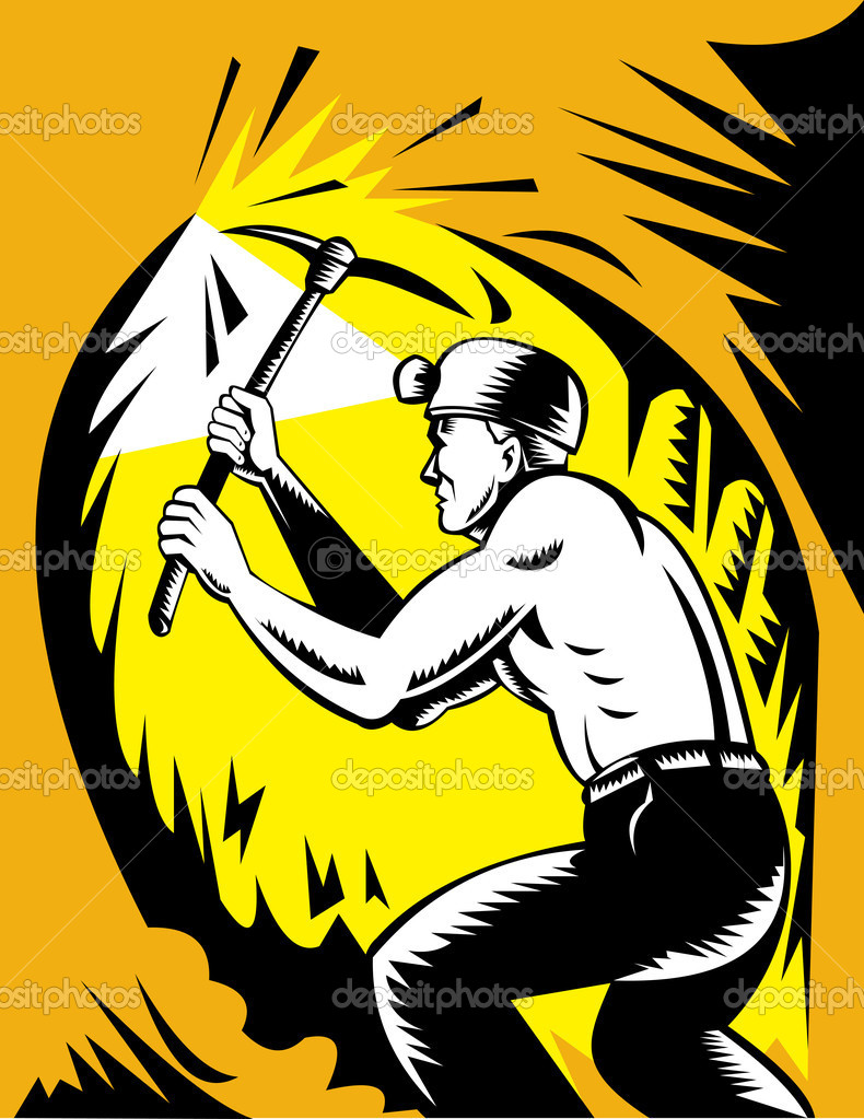 Illustration of a Coal miner at work with pick ax done in woodcut style — Stock Photo #2060786
