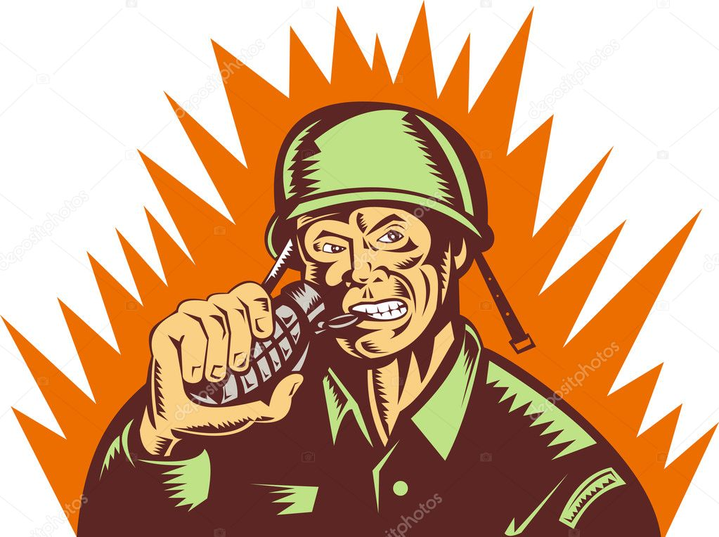 Illustration of a world war two soldier pulling pin of hand grenade — Stock Photo #2060853