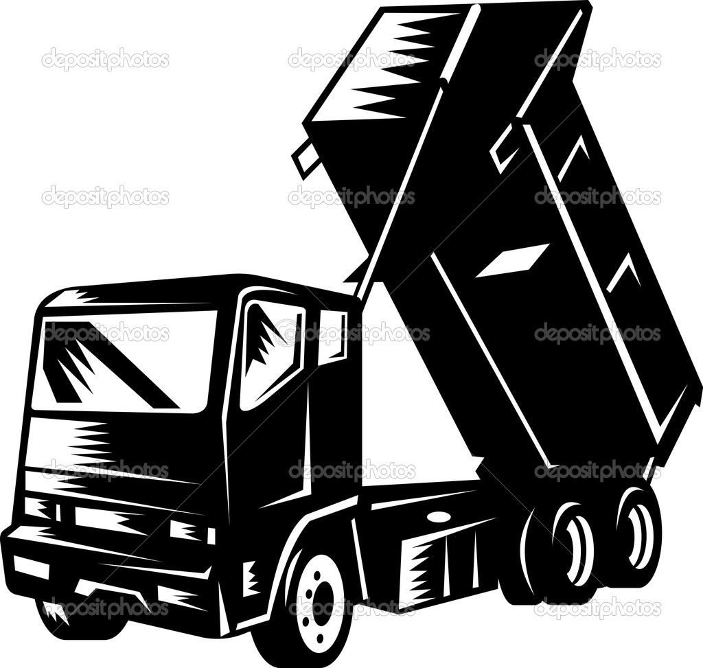 Illustration of a dump truck isolated on white retro style — Stock Photo #2061640
