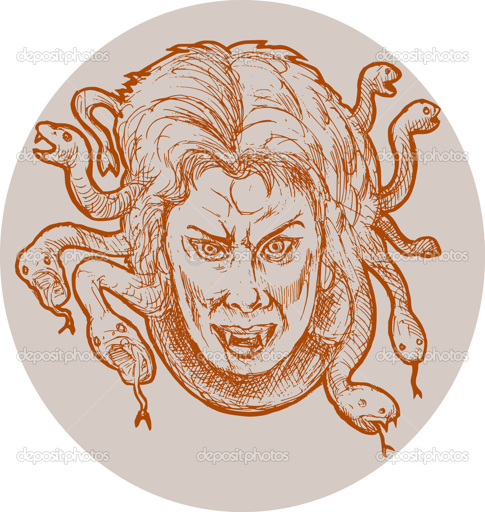 Hand sketched illustration of gorgon female monster Medusa of the greek Mythology who has snakes as hair. — Stock Photo #2064807