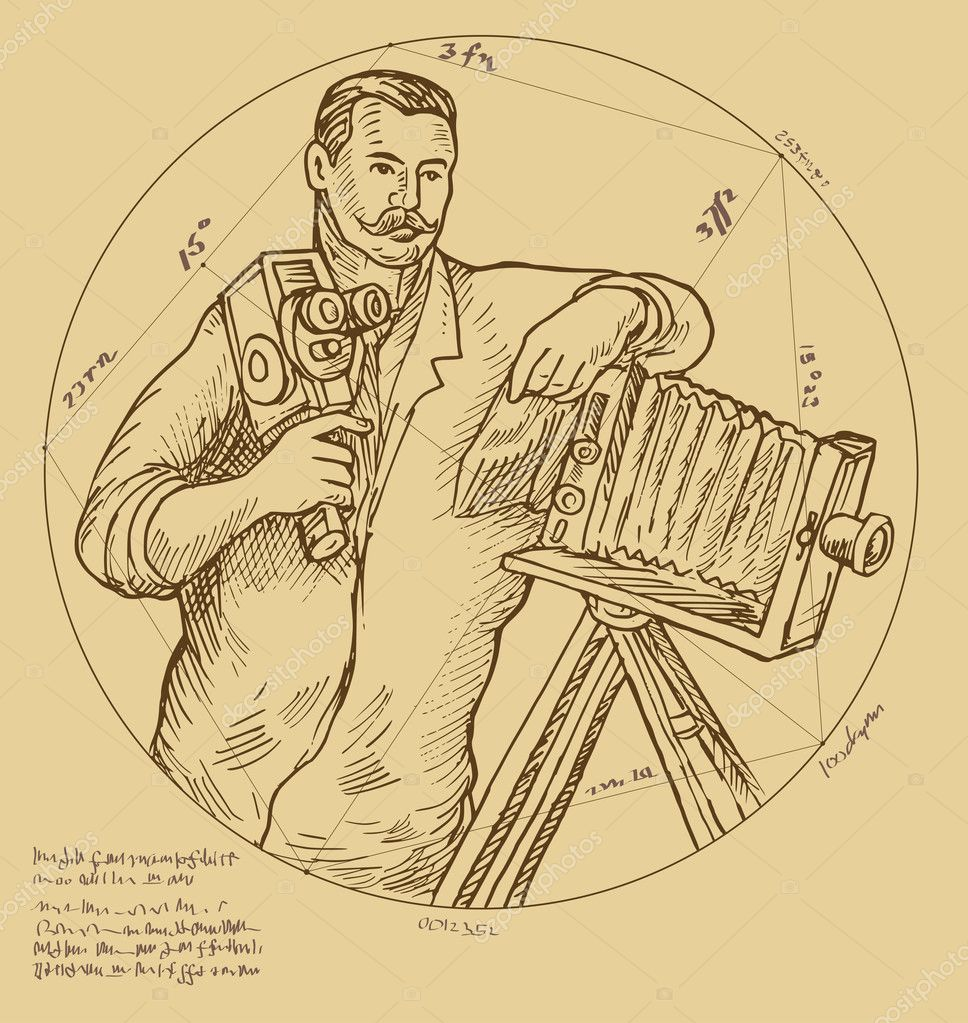 Hand sketch illustration of Vintage Photographer holding video camera made to look like it was done by a Renaissance  artist.  Stock Photo #2064821