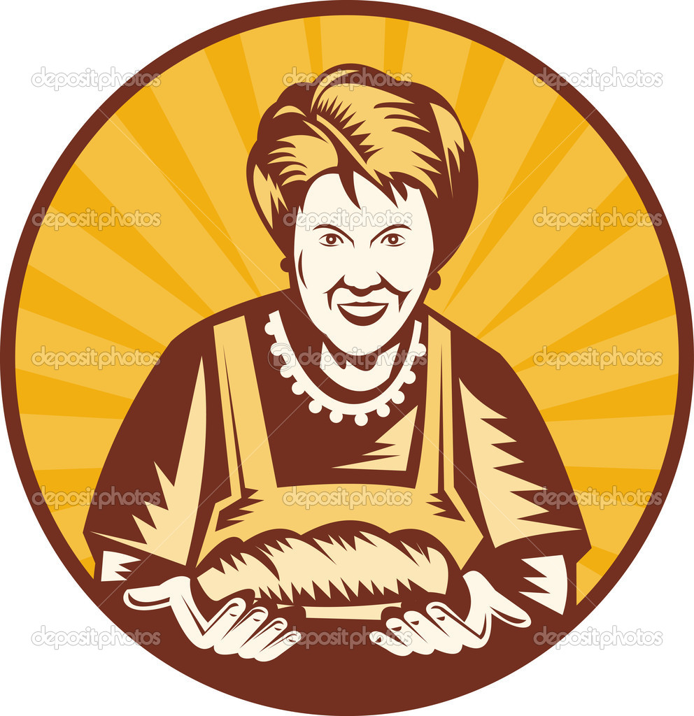 Illustration of an old woman presenting a freshly baked loaf of bread set inside a circle.  Stock Photo #2066188