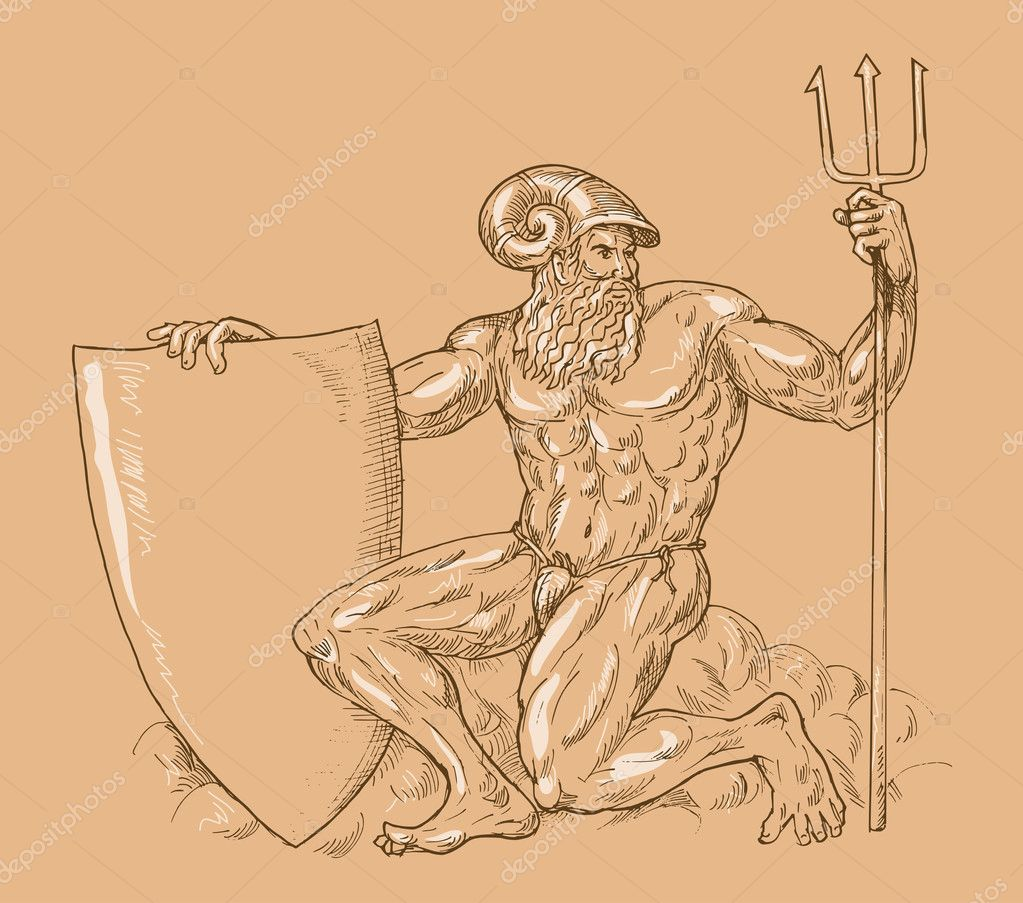Hand drawn and sketch illustration of Roman God Neptune or poseidon with trident and shield — Stock Photo #2066303