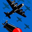 World war two bomber dropping bomb — Stock Photo