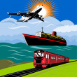 Airplane, ocean liner and train - Stock Photo