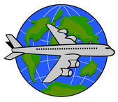 Jumbo jet airliner with globe, — Stock Photo
