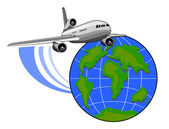 Jumbo jet airliner world global — Stock Photo