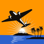 Propeller airplane taking off island — Stock Photo