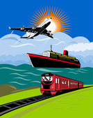 Airplane, ocean liner and train — Stok fotoğraf