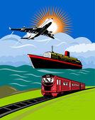 Uçak, okyanus gemisi ve tren — Stok fotoğraf
