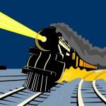 Steam train locomotive traveling night — Stock Photo