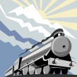 Steam train locomotive with mountains — Stock Photo