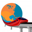 Futuristic monorail train globe — Stock Photo