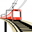 Electric train traveling over viaduct - Stock Photo