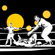 Stock Photo: Referee counting Boxer knockout on floor