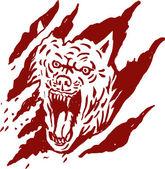 Lobo Bravo dentro de marcas de lágrima a pata — Fotografia Stock