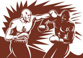 Boxer connecting a knockout punch — Stock Photo