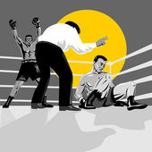 Referee counting Boxer knockout on floor — Stock Photo