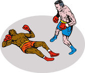 Boxer knockout on floor — Stock Photo