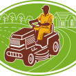 Male gardener riding lawn mower - Stock Photo