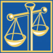 Scales of justice set inside square — Foto Stock