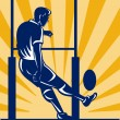 Rugby player kicking at goal post - Stock Photo