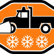 Snow plow truck with snowflake — Stock Photo