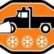 Snow plow truck with snowflake - Stock Photo