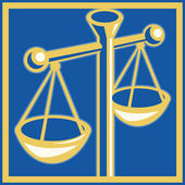 Scales of justice set inside square — Stock Photo